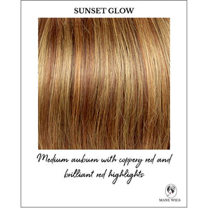 Sunset Glow-Medium auburn with coppery red and brilliant red highlights