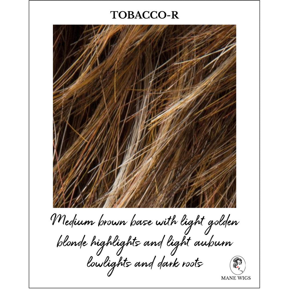 Tobacco-R_Medium brown base with light golden blonde highlights and light auburn lowlights and dark roots