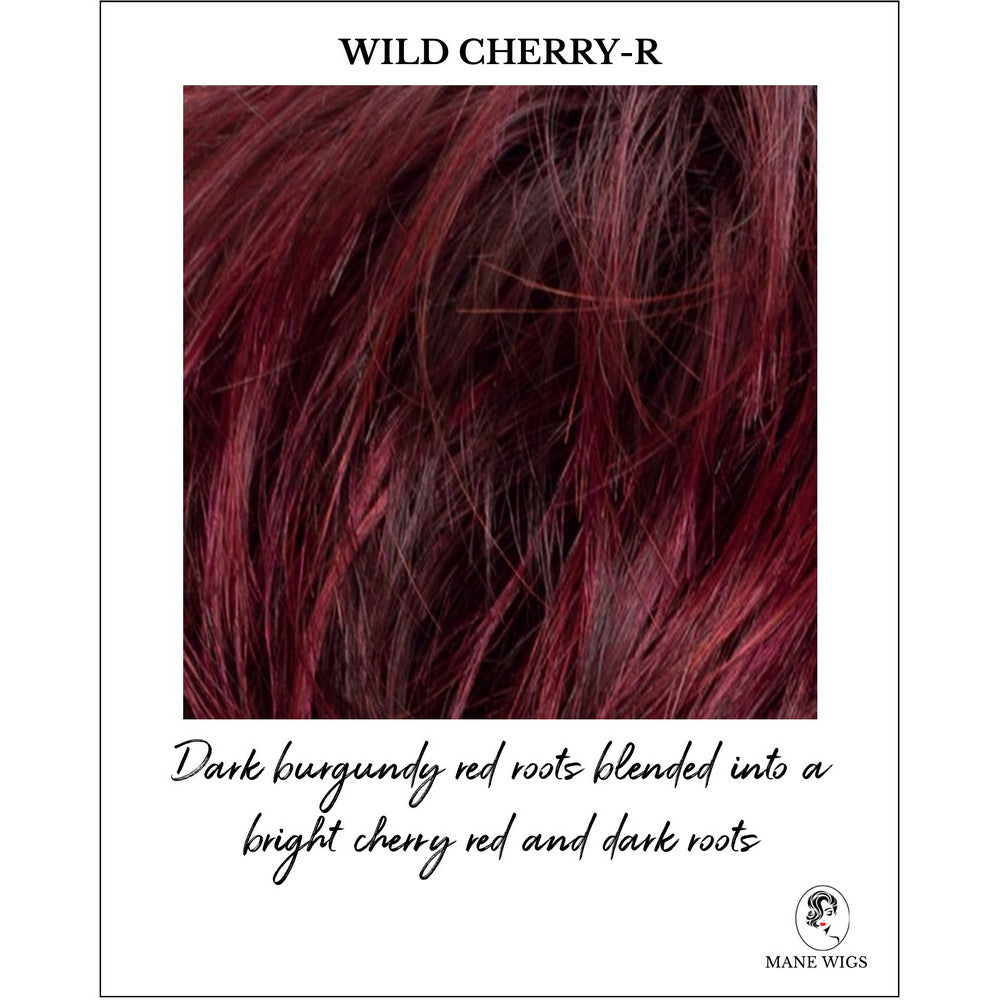 Wild Cherry-R-Dark burgundy red roots blended into a bright cherry red and dark roots