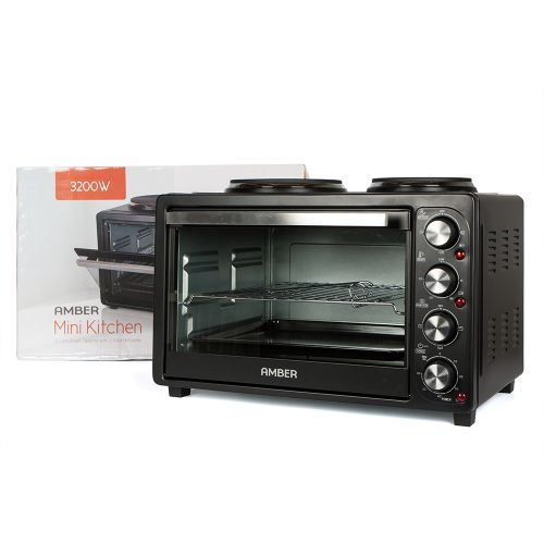 Amber 32L Mini Kitchen Countertop Oven and Double Plate Stove