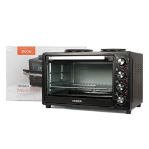 Amber 45L Mini Kitchen Countertop Oven and Double Plate Stove