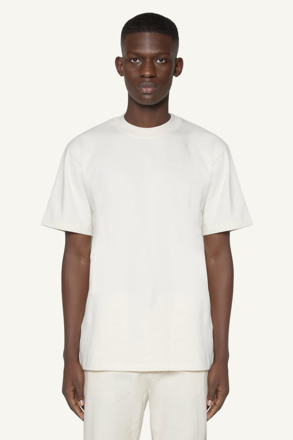 EMBROIDERED LOGO T-SHIRT - CREAM