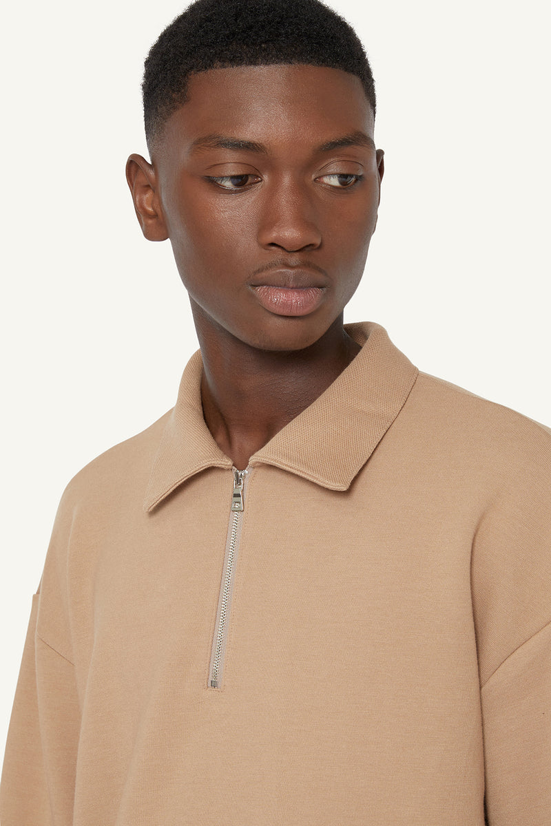 QUARTER ZIP POLO - BEIGE