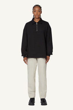 QUARTER ZIP POLO - BLACK