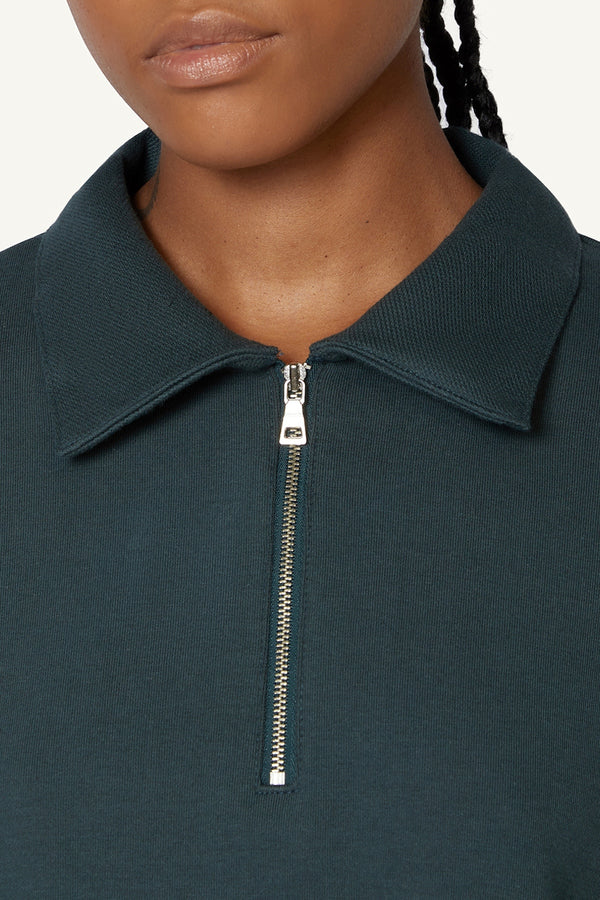 QUARTER ZIP POLO - GREEN