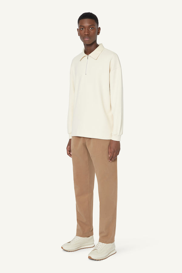 QUARTER ZIP POLO - IVORY