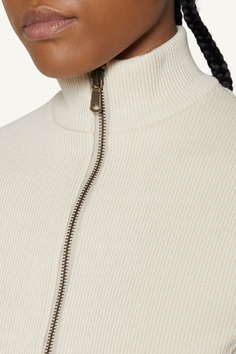 LIORE RIBBED JACKET - CREAM
