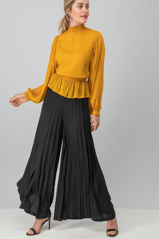 black pleated wide-leg pants