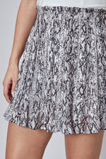 snake print pleated shorts