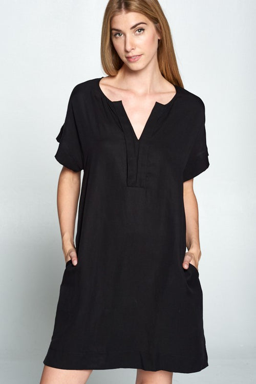 black shift dress