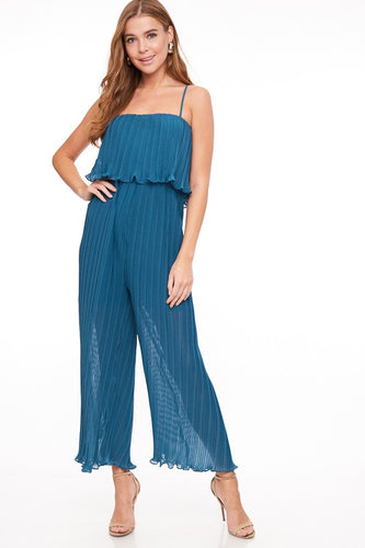blue pleated jumpsuit