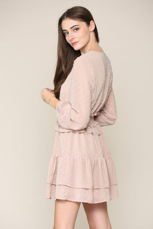cream long sleeve pom pom dress