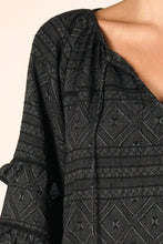 Load image into Gallery viewer, black bubble-sleeve geometric print top