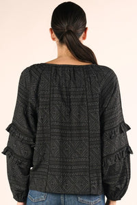 black bubble-sleeve geometric print top