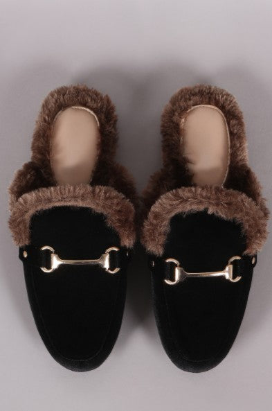 suede faux fur slides