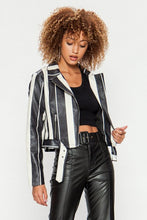 Load image into Gallery viewer, black + white striped bomber