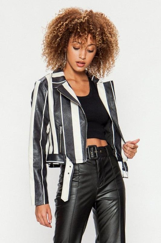 black + white striped bomber
