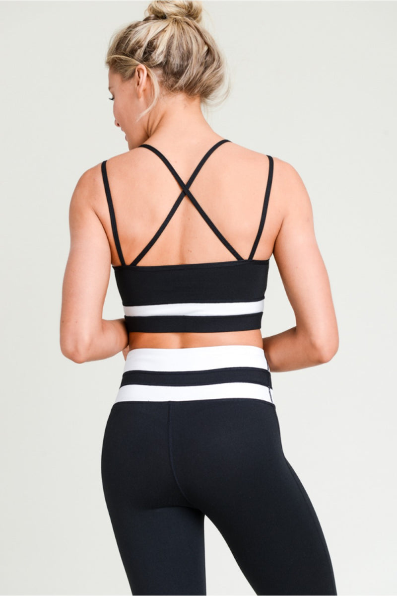 black+white stripe highwaist leggings