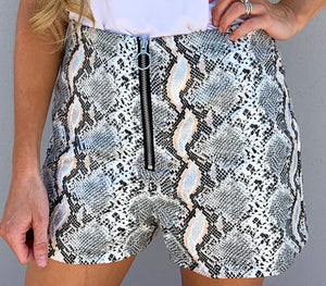 leather snakeskin shorts