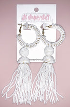 Load image into Gallery viewer, large beaded white tassel earrings