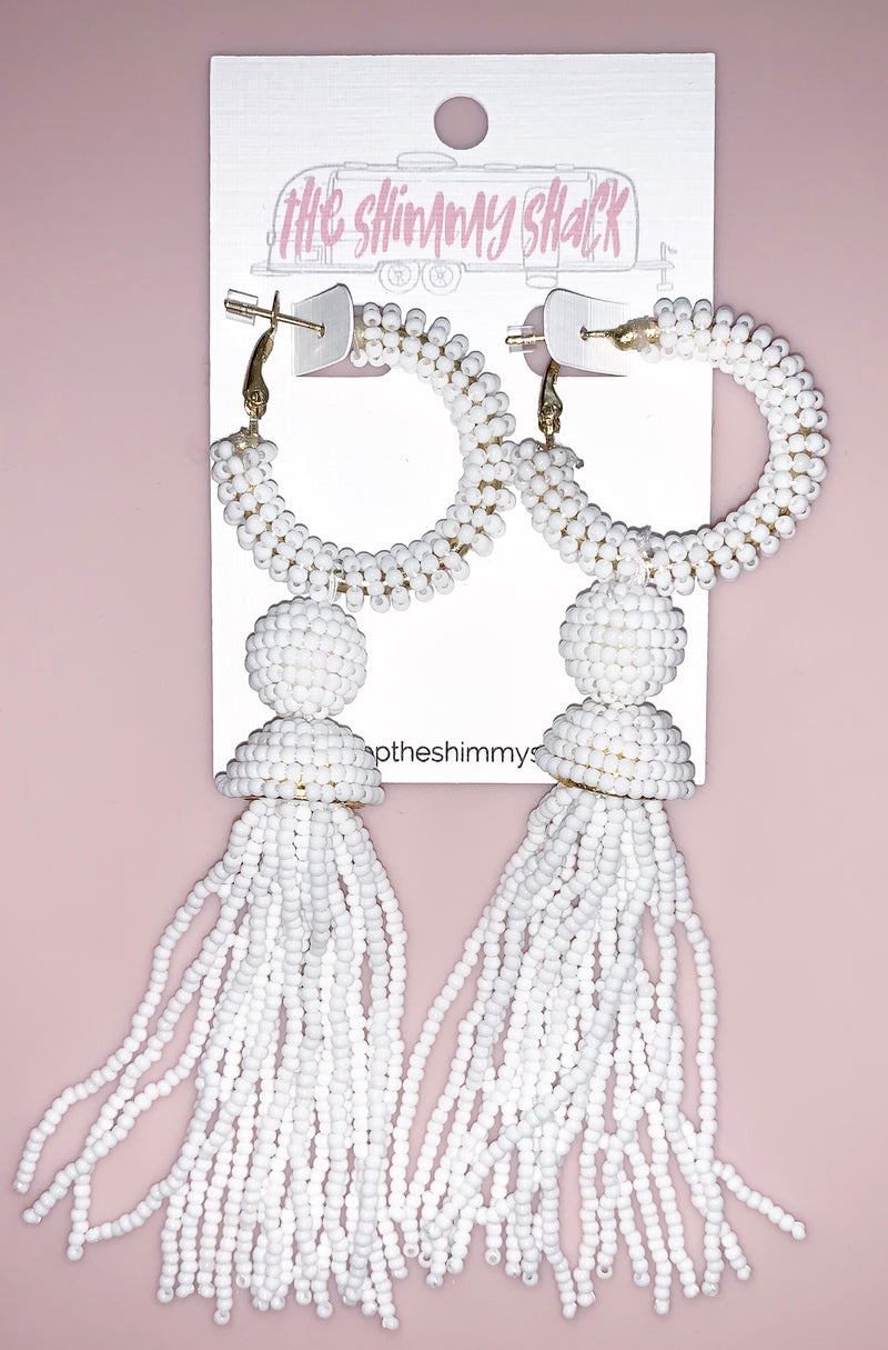 large beaded white tassel earrings