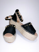 Load image into Gallery viewer, black platform rockstud espadrilles