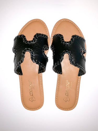 black leather H sandal
