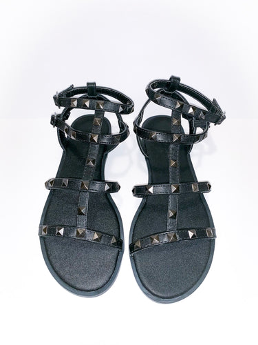 black rockstud gladiator sandals