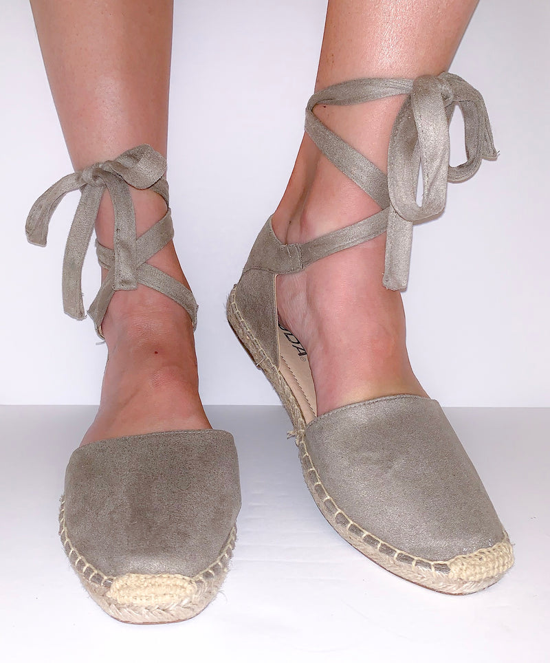 taupe tie-up espadrille