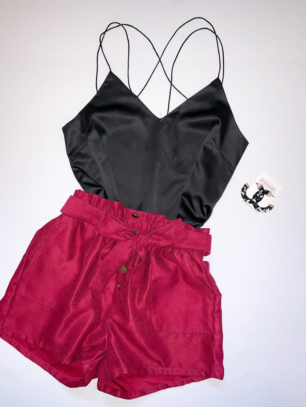 paper-bag shorts: maroon & black