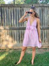 Load image into Gallery viewer, bubble-gum striped halter-top dress