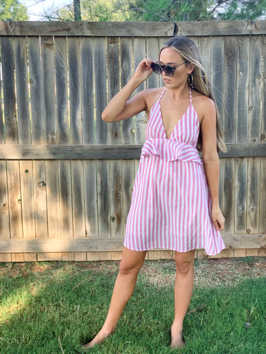 bubble-gum striped halter-top dress