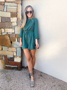 momiform romper: green & blue