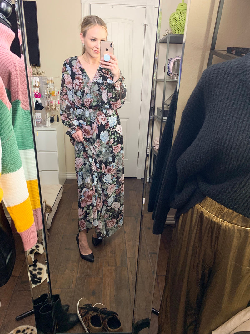 floral long-sleeve maxi dress