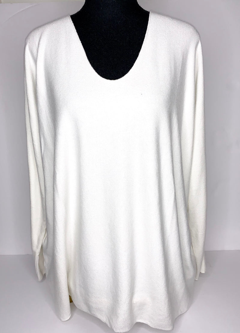 basic white long-sleeve sweater