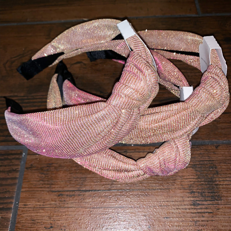 iridescent pink + gold glitter headbands