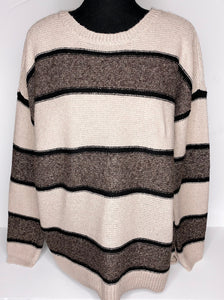 cream sweater w/ black stripes