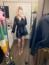 Load image into Gallery viewer, black sequin wrap dress