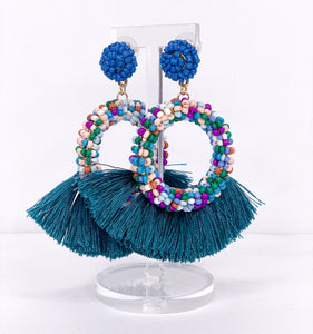 multi-color beaded + teal tassels
