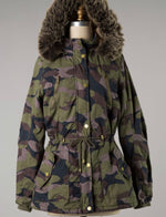 fur-lined camo coat