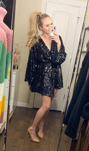 black sequin wrap dress