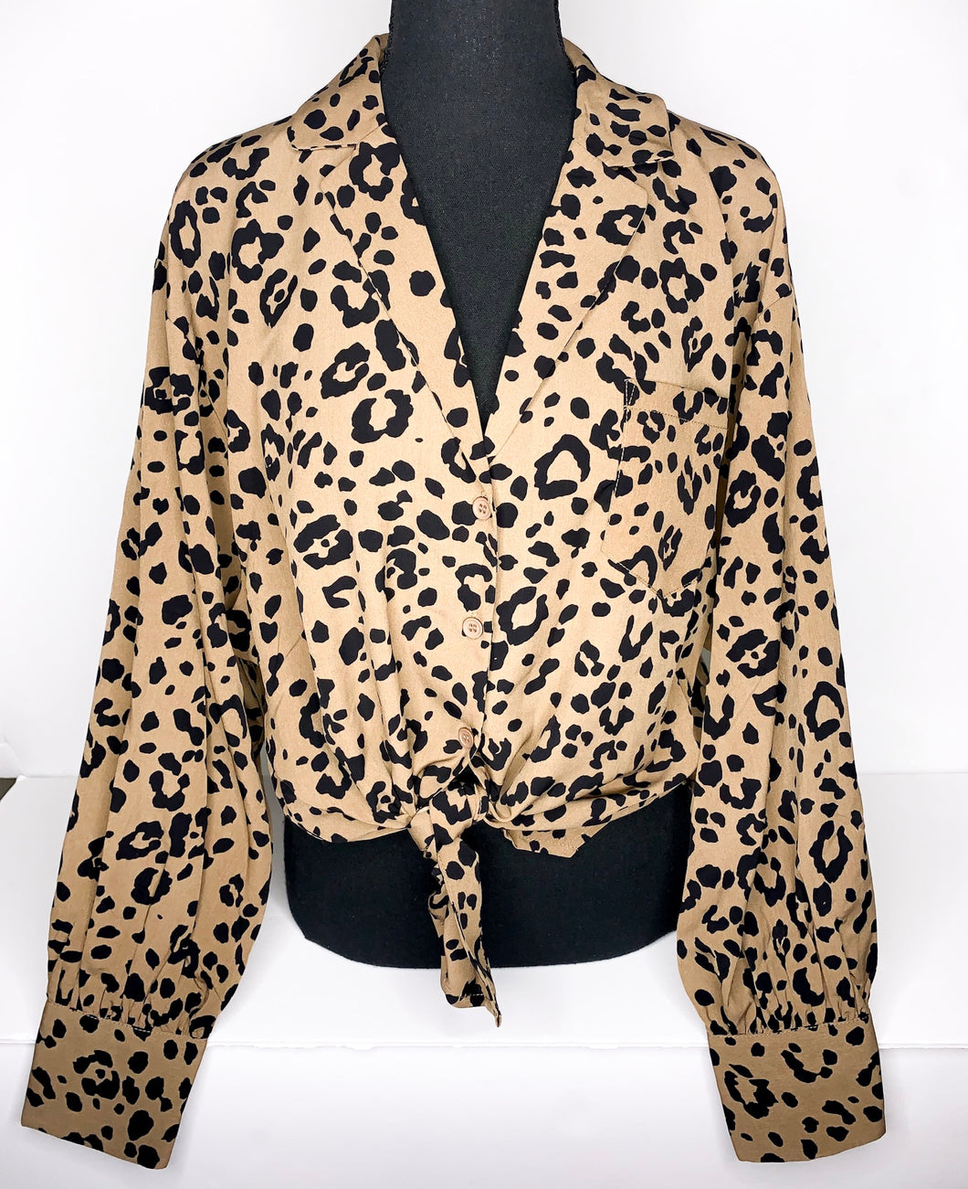 leopard button-up long sleeve