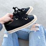 tie me — black lace-up espadrille