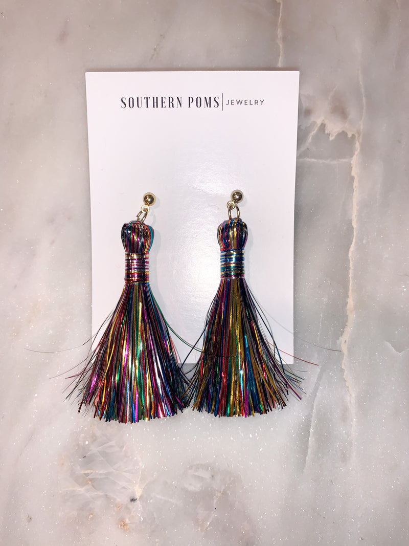 multi-colored tinsel tassels by southern poms