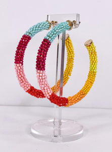 large multi-color beaded hoops