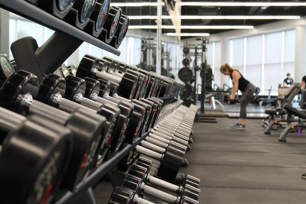 Weights rack in the gym