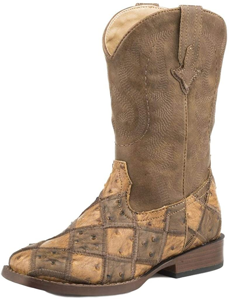 Roper Boys Leather Ostrich Diamond Boot (Infant-Big Kid)