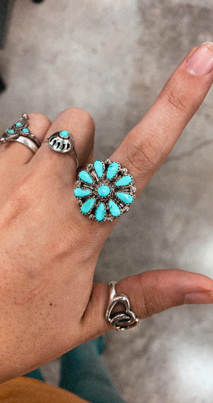 Genuine Turquoise Circle Cluster Ring
