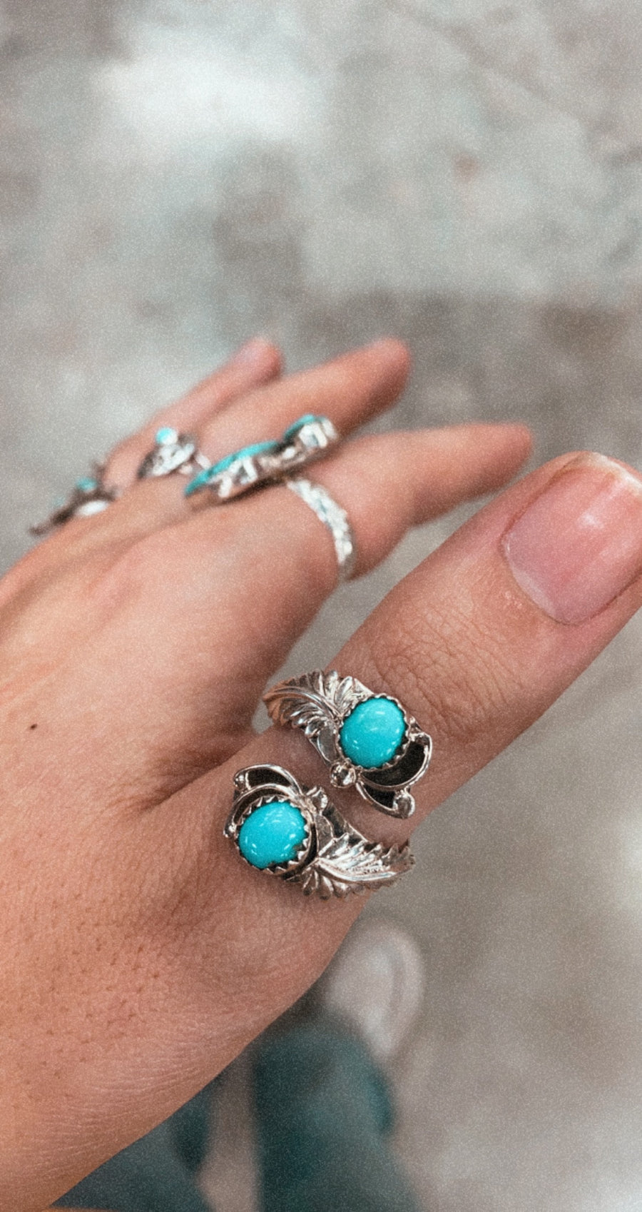 Genuine Turquoise Adjustable Sterling Silver Ring