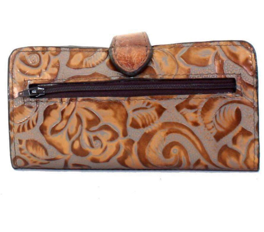 Double J Eagle Grey/Copper Floral Ladies Wallet